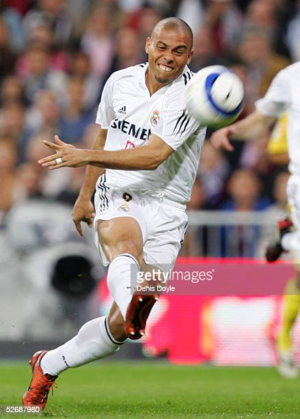 Real's Ronaldo has a shot at goal during a La Liga soccer match between Real Madrid and Villarreal at the Bernabeu on April 23 2005 in Madrid Spain...