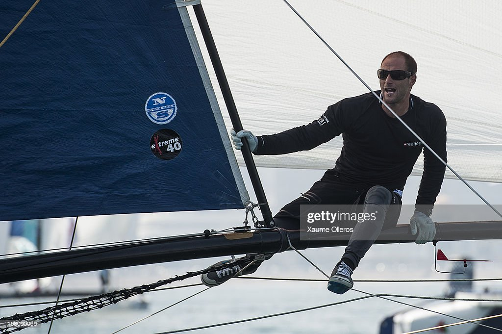 Realteam bowman Thierry Wasem of Switzerland, in action during day four of the Extreme Sailing Series on May 5, 2013 in Qingdao, China.