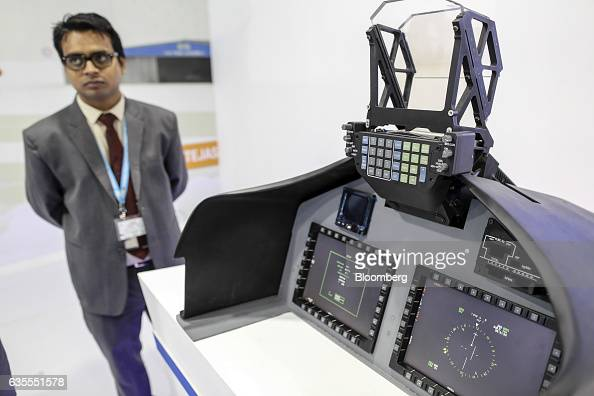 A realtime operating system for airborne computers sits on display at the Hindustan Aeronautics Ltd booth during the Aero India air show at Air Force...