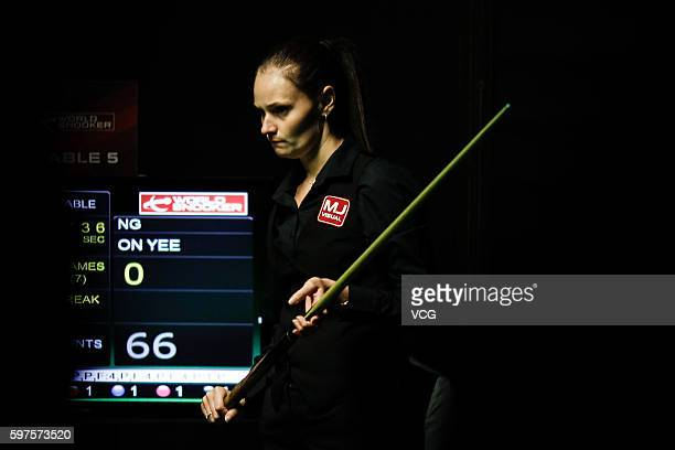 Reanne Evans of England eyes the ball in the final match against Ng OnYee of Hong Kong on day 4 of the Paul Hunter Ladies Classic 2016 at the...