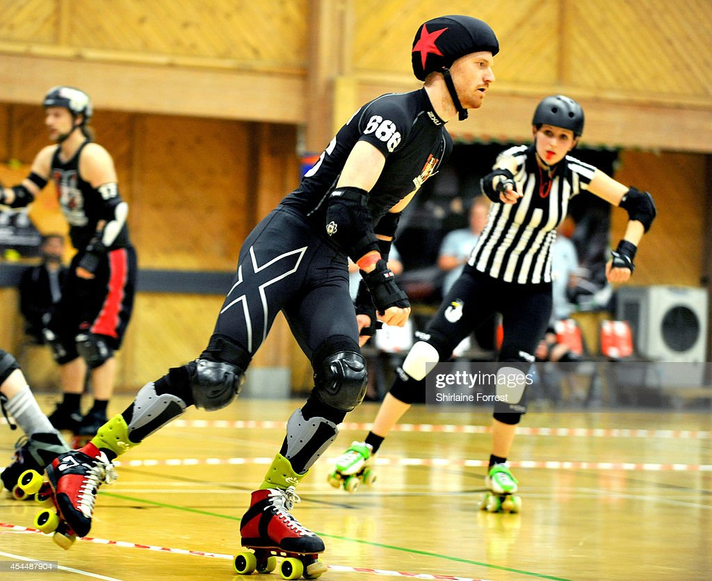 Reaper of Southern Discomfort bouts in the Men's European Cup roller derby tournament at Walker Activity Dome on August 31, 2014 in Newcastle upon Tyne, England.