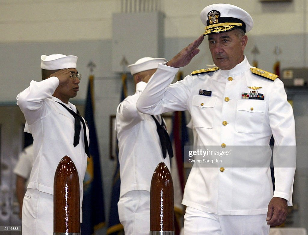 Rear Admiral Daniel S. Mastagni, new Commander of the U.S. Naval Forces in Korea, salutes during the Change of Command Ceremony at the Youngsan Army Base July 9, 2003 in Seoul, South Korea. Mastagni replaces Rear Admiral Gary Jones as Commander of the Forces in the region.