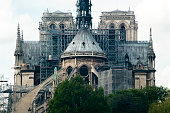 Rear of Notre Dame cathedral with renovation works and scaffolding days before fire