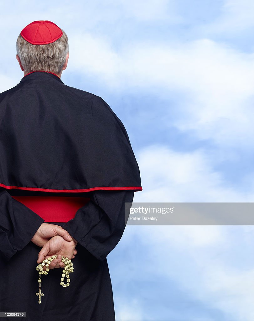 Rear of roman catholic cardinal with copy space