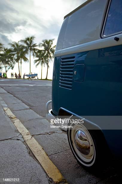 Rear of Volkswagen T1 van at Waikiki strip, Kalakaua Avenue.