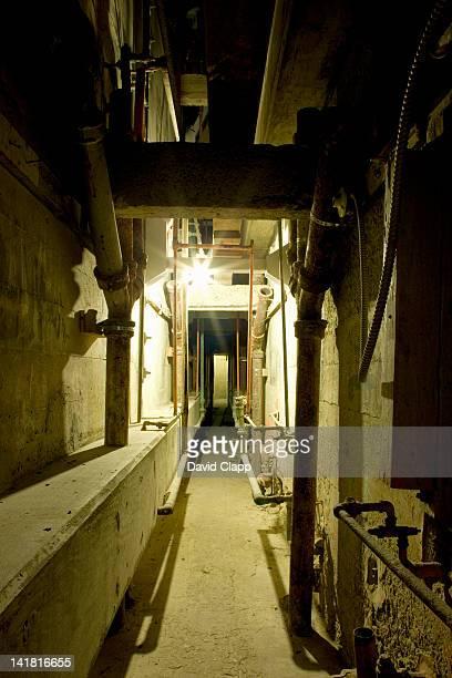 Rear service duct inside Alcatraz Prison, an island prison in San Francisco Bay, off San Francisco, California, United States of America, North America