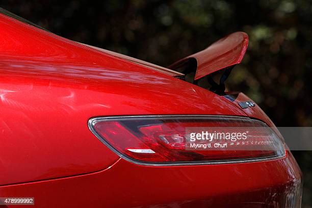 A rear spoiler pops up for added performance on the 2016 MercedesAMG GT S A twinturbo 40liter V8 makes 503 horsepower It boasts a top speed of 193...