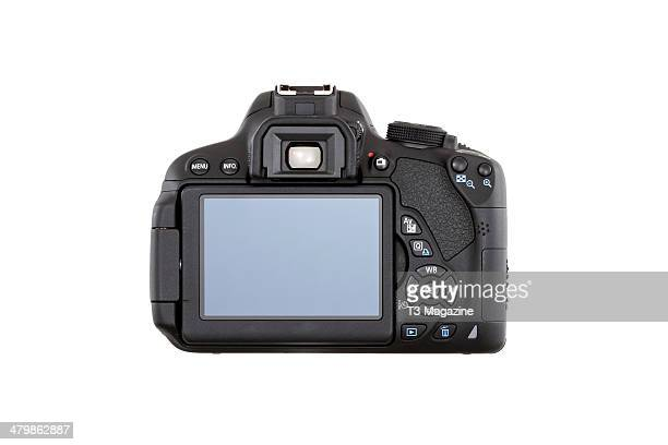Rear view and LCD screen detail of a Canon EOS 700D DSLR camera photographed on a white background taken on July 15 2013