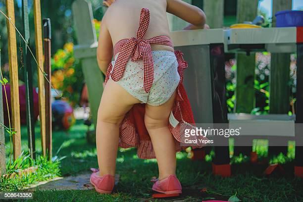 Rear view girl underwear outdoors