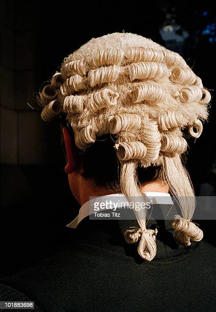 Rear view of a barrister wearing a wig,  Melbourne, Victoria, Australia