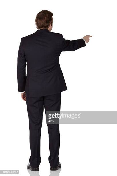 Rear view of a businessman pointing with finger