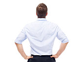 rear view of a caucasian corporate executive, isolated on white background.