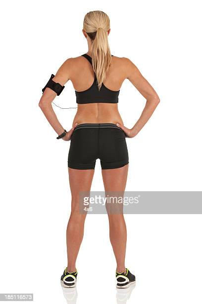 Rear view of a female athlete