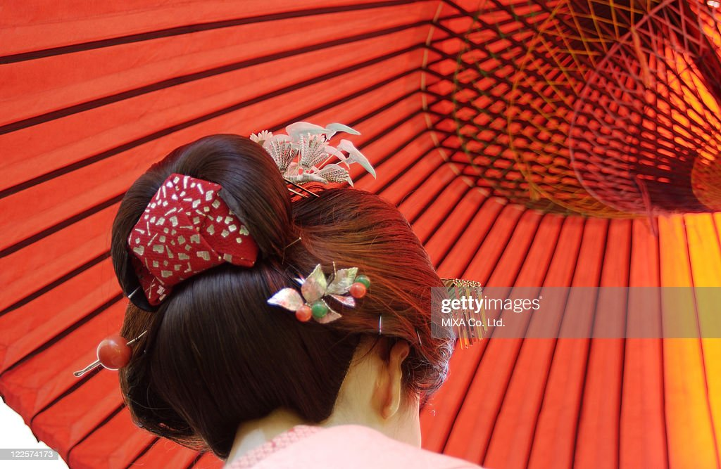 Rear view of a geisha woman, close-up