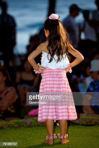 Rear view of a girl standing on the beach, Waikiki Beach, Honolulu, Oahu, Hawaii Islands, USA : Stock Photo