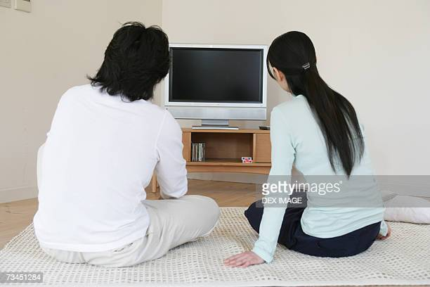 Rear view of a man and a woman sitting in front of a television