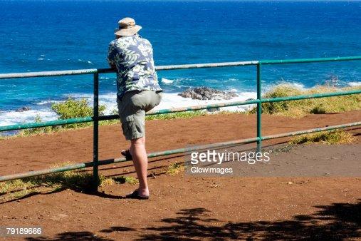 Rear view of a man leaning against a railing on the beach, Hookipa Beach, Maui, Hawaii Islands, USA : Foto de stock