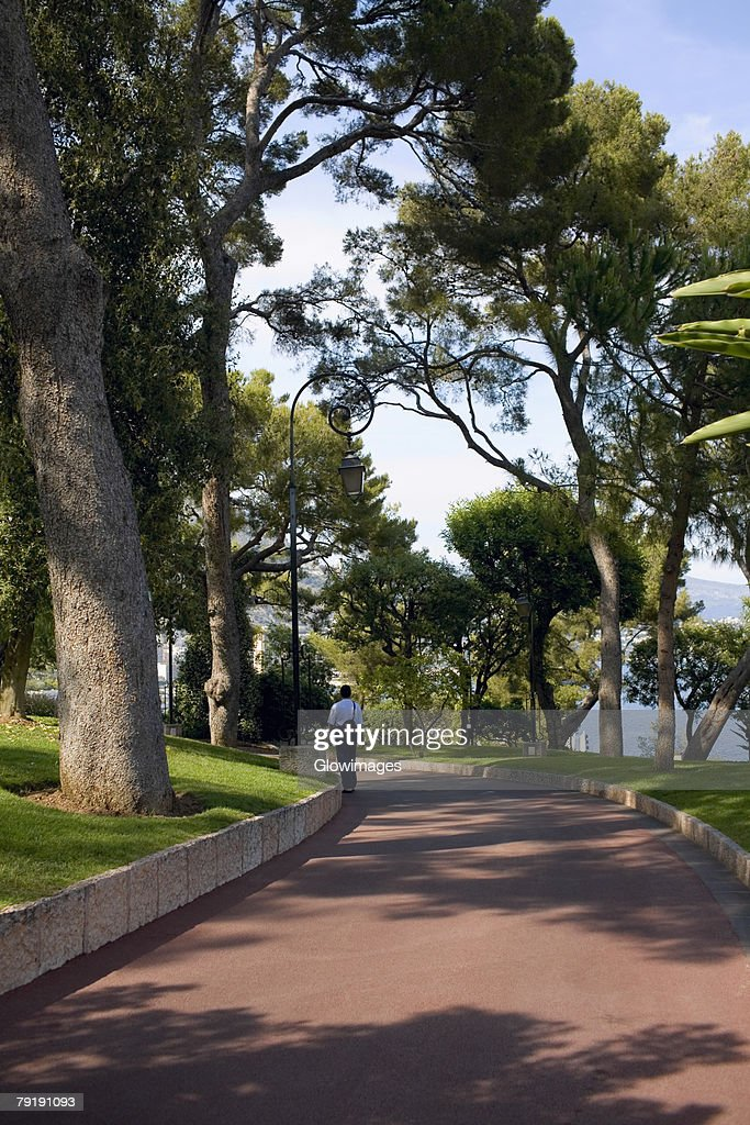 Rear view of a man walking on a walkway, Monte Carlo, Monaco : Stock Photo