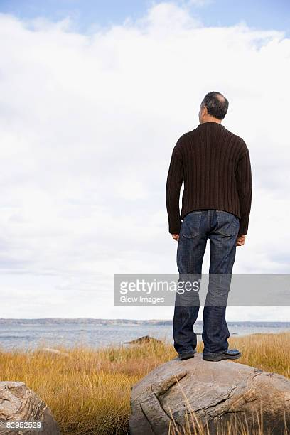 Rear view of a mature man standing on a rock