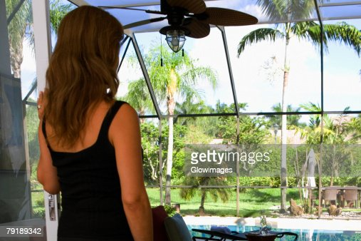 Rear view of a mature woman : Stock Photo