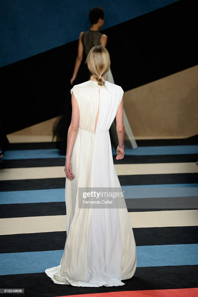 Rear view of a model as she walks the runway wearing Derek Lam Fall 2016 during New York Fashion Week: The Shows at The Gallery, Skylight at Clarkson Sq on February 14, 2016 in New York City.