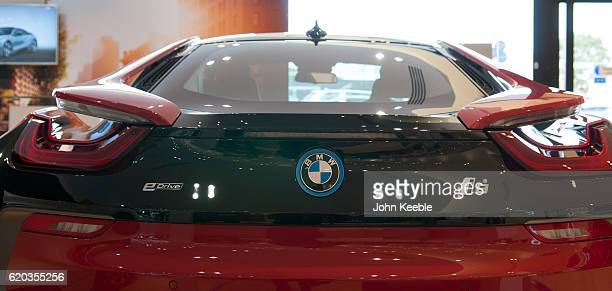 A rear view of a new BMW red and black BMW i8 Edrive hybrid car on October 20 2016 in Southend United Kingdom