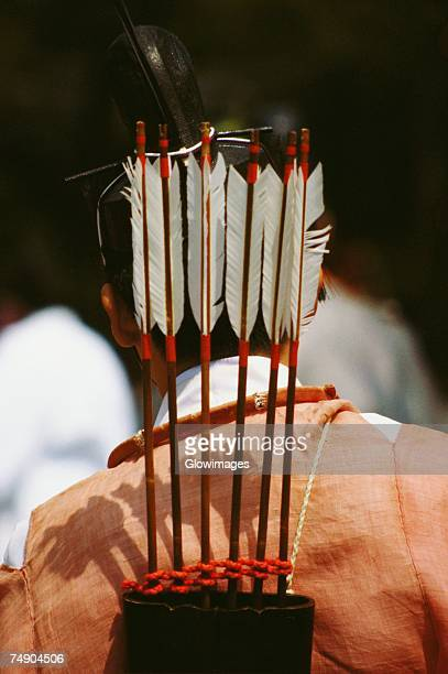 Rear view of a person carrying a quiver with arrows on his shoulders, Hollyhock Festival, Kyoto Prefecture, Japan