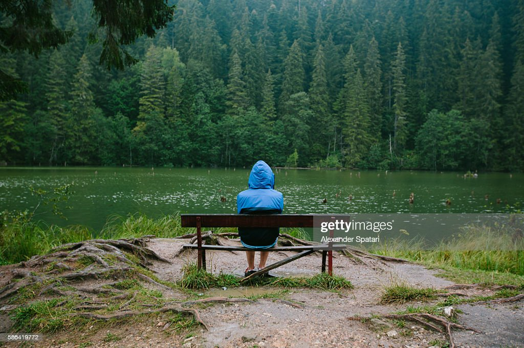 Rear view of a person in blue hooded jacket sitting alone at the shore of a lake surrounded by pine trees forest