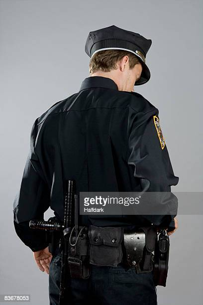 Rear view of a police officer