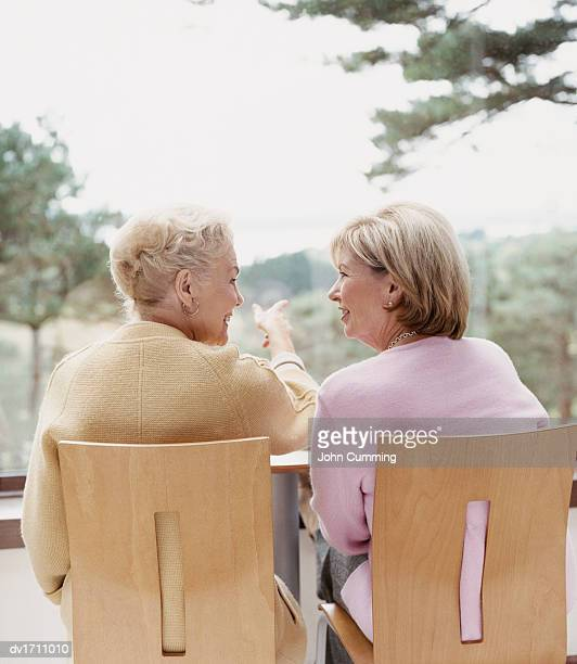 Rear View of a Senior Woman Sitting in a Cafe Pointing and Talking to a Friend Sitting Beside Her