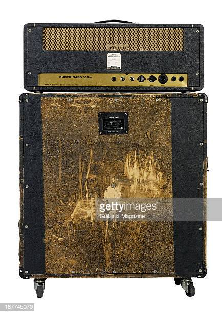 A rear view of a Vintage Marshall JMP electric guitar amplifier and JCM 900 speaker cabinet photographed during a studio shoot for Guitarist Magazine...