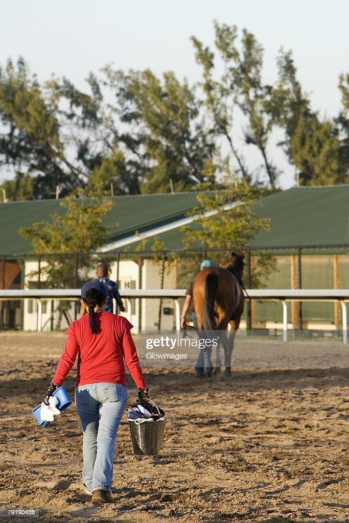 Rear view of a woman carrying a bucket and walking towards a racehorse : Foto de stock