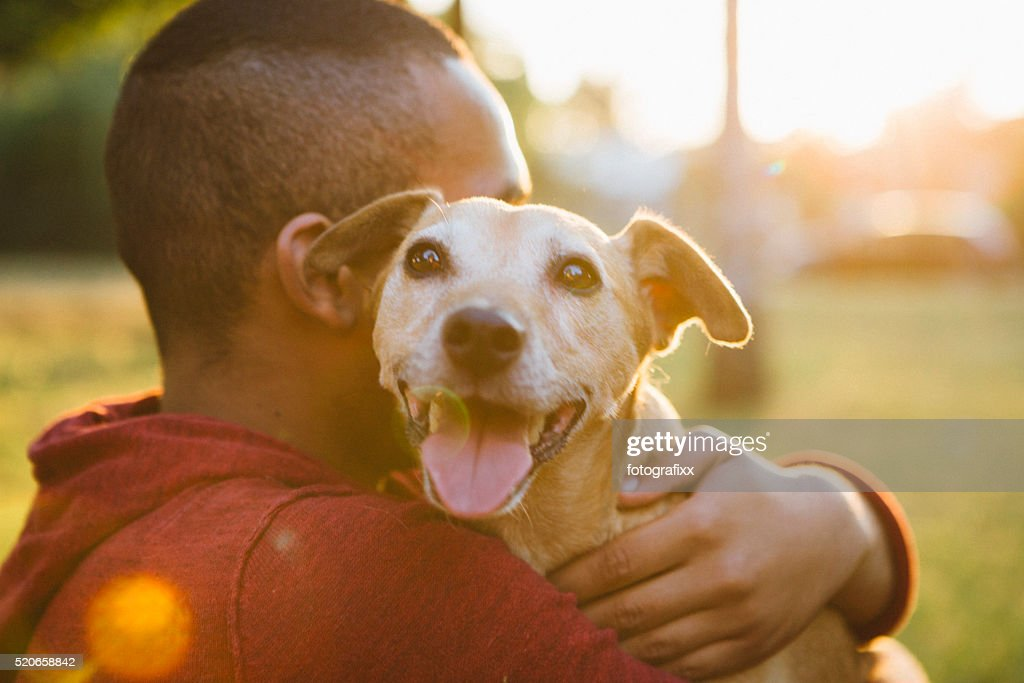rear view of a young man hug his small dog : Stock Photo