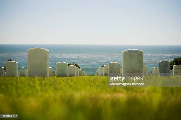 Rear view of an array of tombstones, Fort Rosecrans National Cemetery, San Diego, California, USA