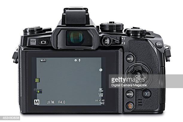 Rear view of an Olympus OMD EM1 compact system camera photographed on a white background on November 4 2013