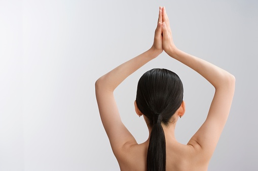 sexy naked woman meditating