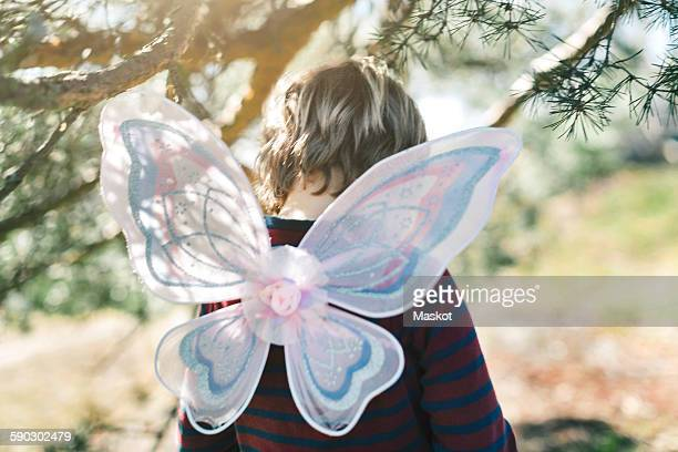 Rear view of boy in fairy wings at yard