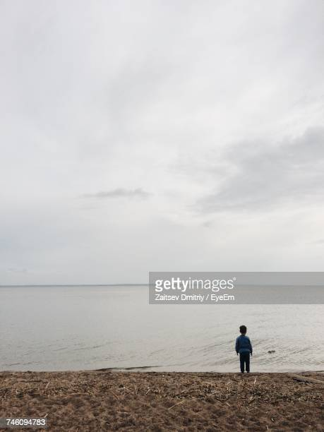 Rear View Of Boy Standing On Shore At Beach Against Sky
