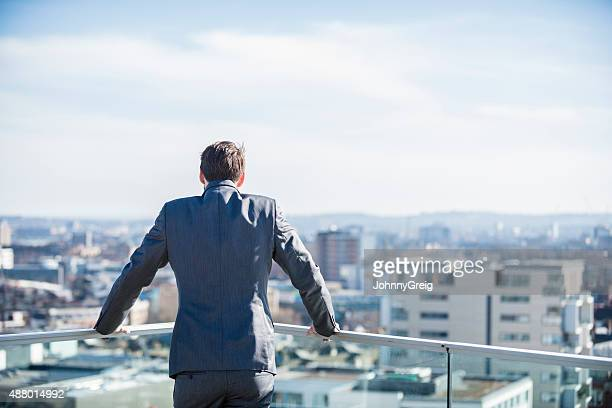 Rear view of businessman looking at city skyline
