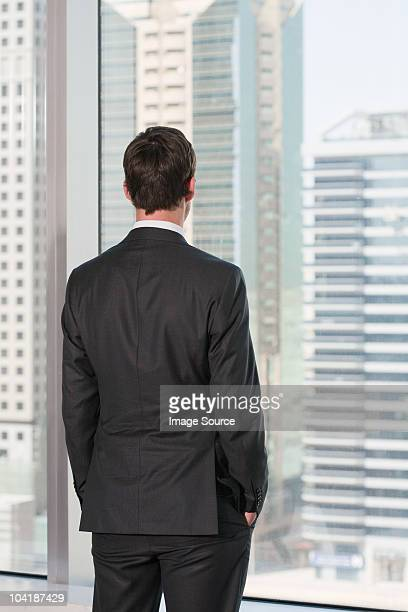 Rear view of businessman looking out of office window