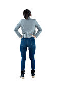 Rear view of businesswoman standing.