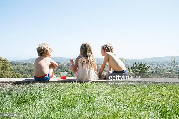 Rear view of children having picnic