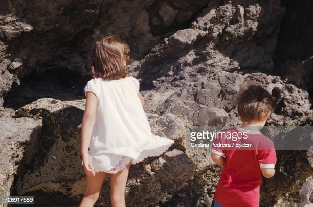 Rear View Of Children Standing On Rock