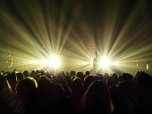Rear View Of Crowd At Music Concert Against Illuminated Light Beam