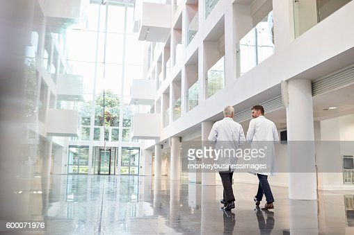 Rear View Of Doctors Talking As They Walk Through Hospital : Stock-Foto