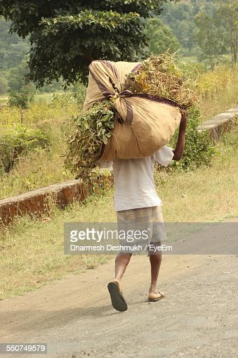 Rear View Of Farmer Carrying Sack