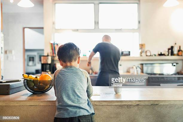 Rear view of father and son in kitchen