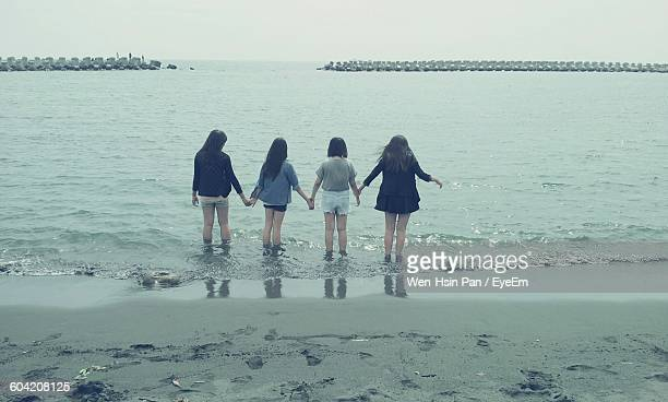 Rear View Of Female Friends Standing At Shore