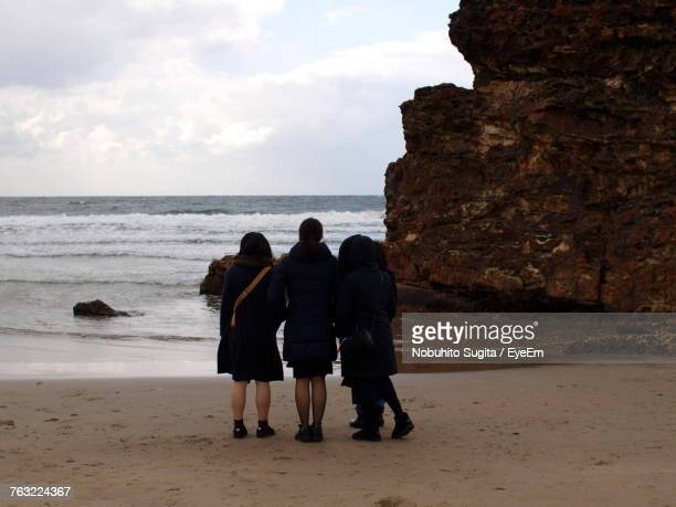Rear View Of Friends Standing On Shore At Beach Against Sky
