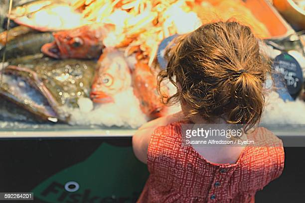 Rear View Of Girl Looking Fish At Market